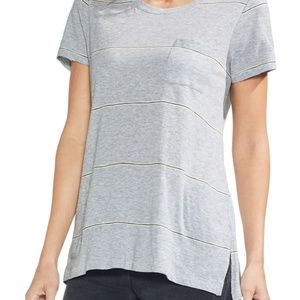 Vince Camuto Gray Striped Front Pocket T-Shirt S